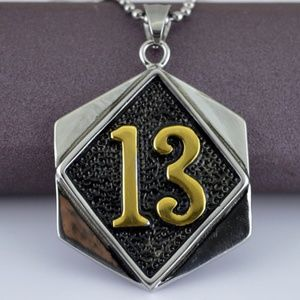 Other - Lucky 13 Silver Gold Stainless Steel Biker Pendant